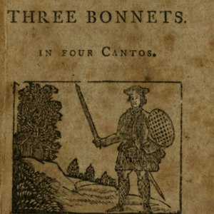 Woodcut on title-page portraying man with sword and shield standing in outdoor scene; house and trees in the background