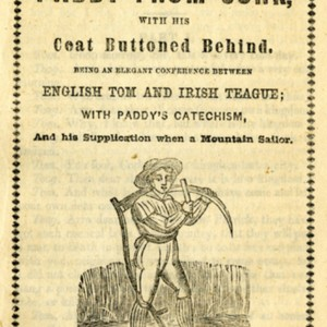 Cover page of The Comical Saying of Paddy From Cork, printed in black ink, featuring woodcut of male figure holding a scythe in a field, item title and printer information.