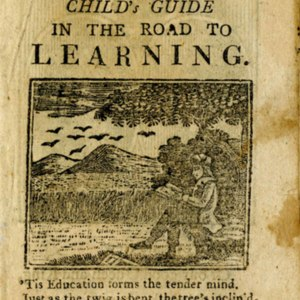 Woodcut on title-page portraying Man reading a book under a tree; 8 birds flying over 2 hills in the background