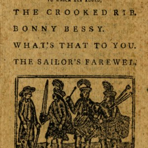 Woodcut on title-page portraying Group of 3 men wearing feathered caps and wearing plaid (1 playing bagpipes, 1 playing drums, 1 holding a sword) standing next to a gentleman wearing a hat and holding a walking stick